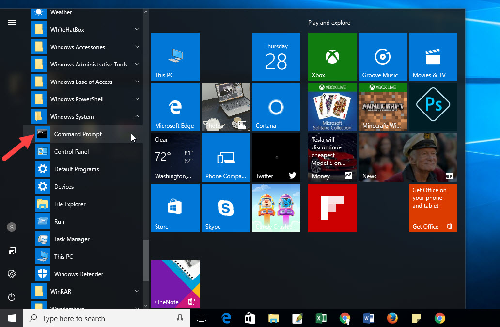 command to open windows start menu