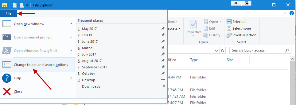 File explorer windows