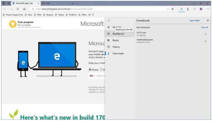 Microsoft Edge new Hub experience