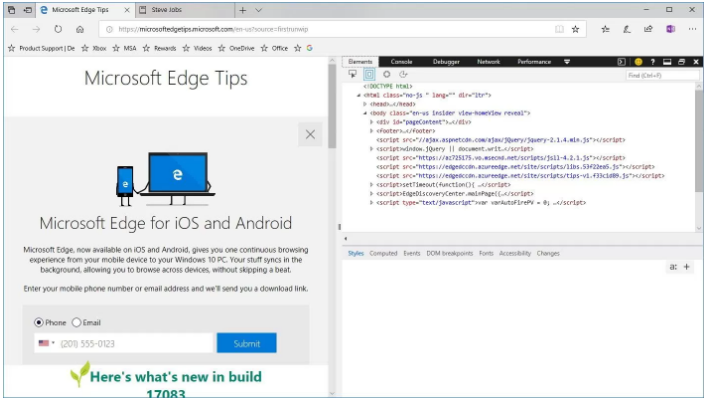 Microsoft Edge DevTools right dock