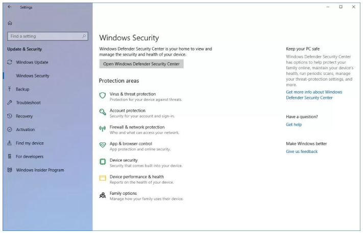 Windows Security settings