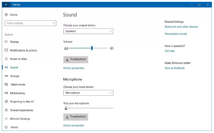 Windows 10 Redstone 4 Sound Setting