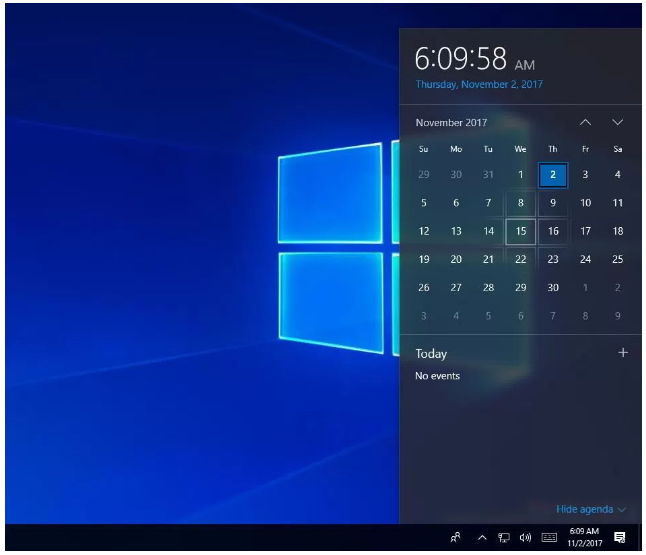 Clock and Calendar with Fluent Design