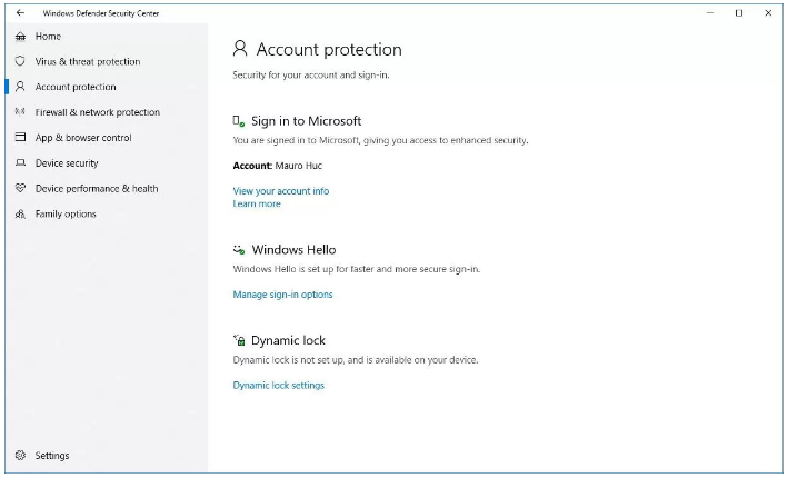 Account protection settings