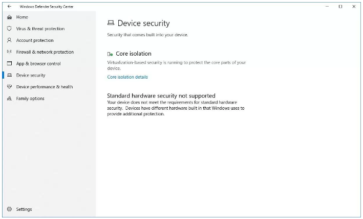 Device security settings